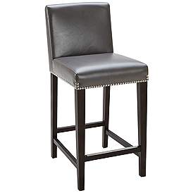 Brooke 25 1 2 Gray Bonded Leather Counter Stool