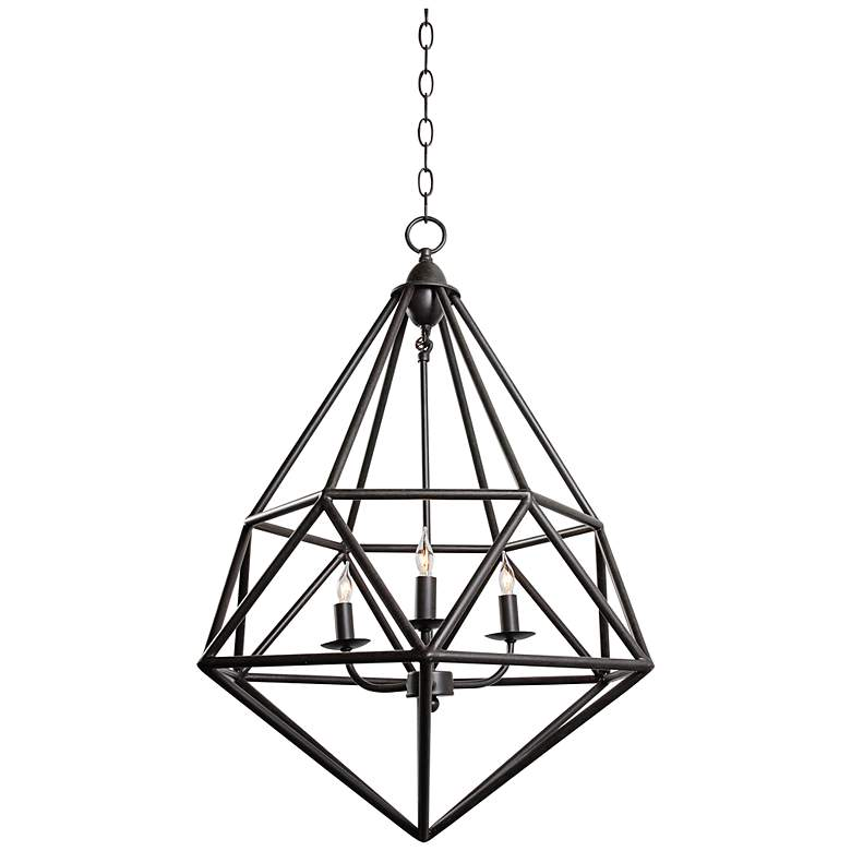 """Varaluz Facet 18"""" Wide Forged Iron Pendant Light"""