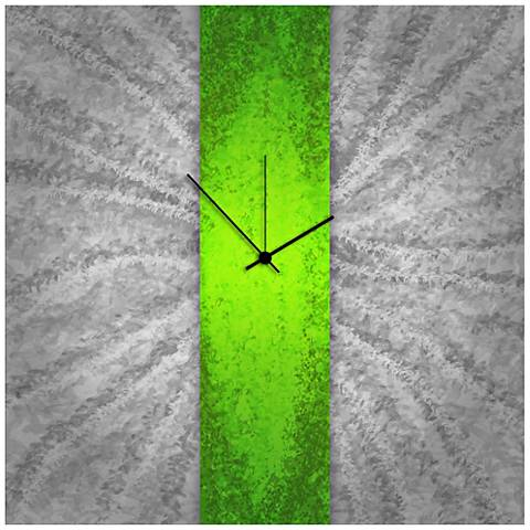 "Green Stripe 22"" Square Abstract Metal Wall Art Clock"
