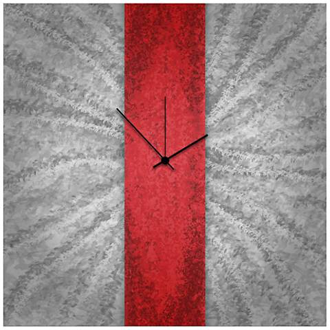 "Red Stripe 22"" Square Abstract Metal Wall Art Clock"