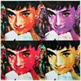 "Audrey Hepburn Pop 22"" Square Metal Wall Art Clock"
