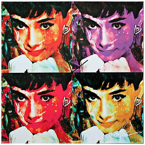 "Audrey Hepburn Pop 22"" Square Metal Wall Art Clock"