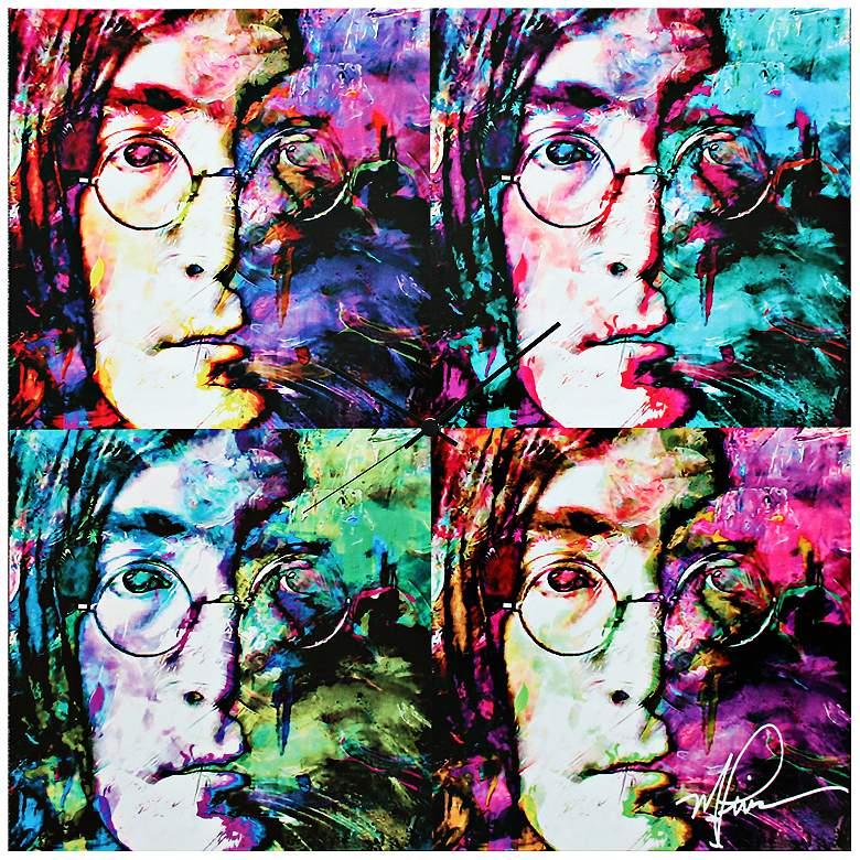 "John Lennon Beatles Pop 22"" Square Metal Wall Art Clock"