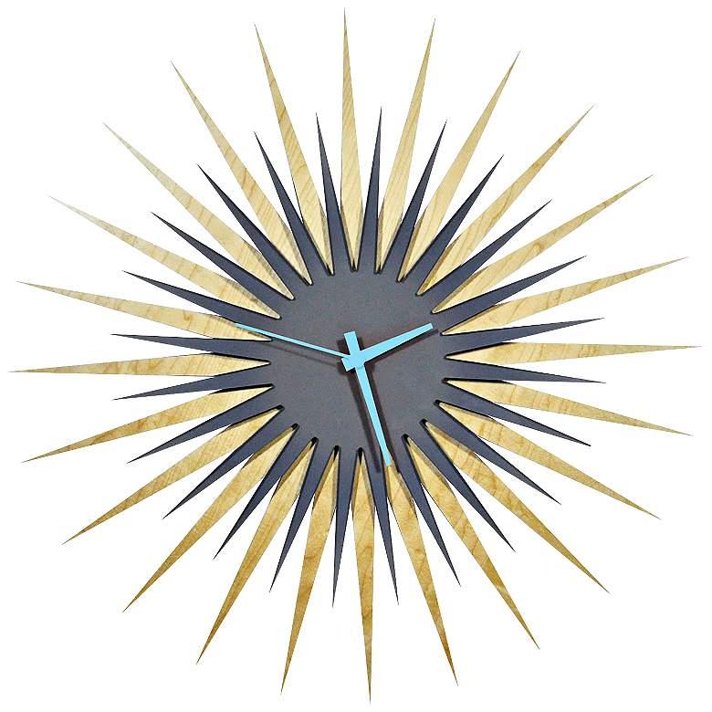 "Maple Gray and Blue 23"" Atomic Starburst Modern Wall Clock"