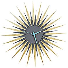 "Maple Gray and Blue Atomic Starburst 23"" Round Wall Clock"