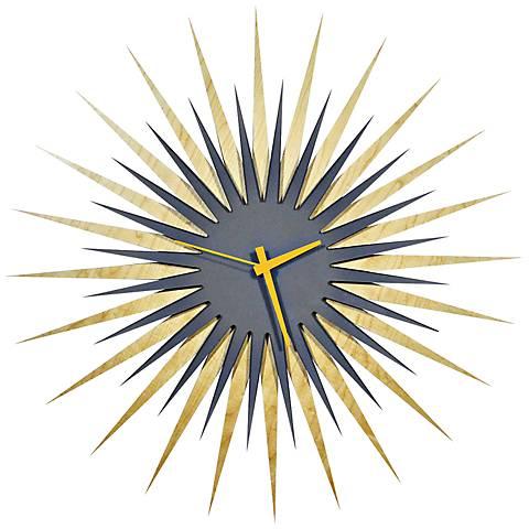 """Maple Gray and Orange Atomic Starburst 23"""" Round Wall Clock"""