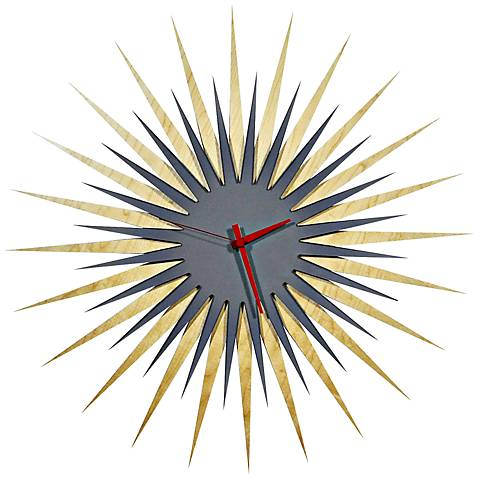 "Maple Gray and Red Atomic Starburst 23"" Round Wall Clock"