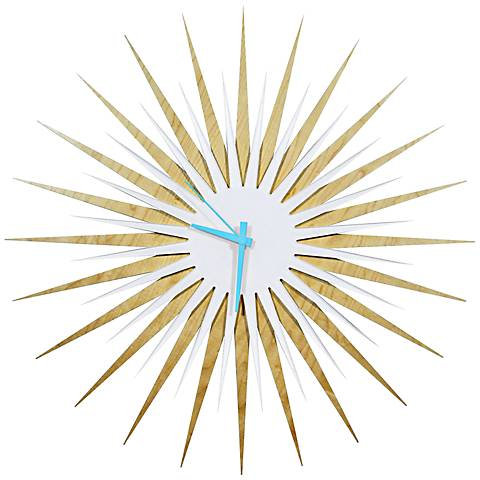 "Maple White and Blue Atomic Starburst 23"" Round Wall Clock"