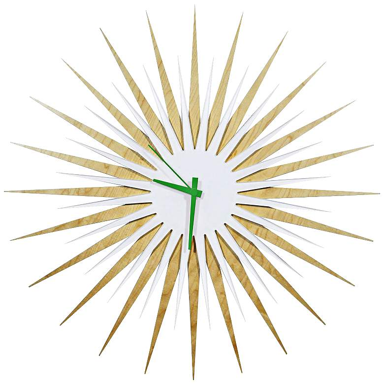 """Maple Wood and Green 23"""" Modern Starburst Wall"""