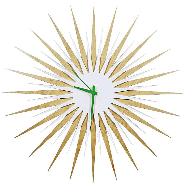 "Maple White and Green Atomic Starburst 23"" Round Wall Clock"