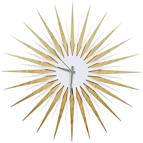 """Maple White and Gray Atomic Starburst 23"""" Round Wall Clock"""