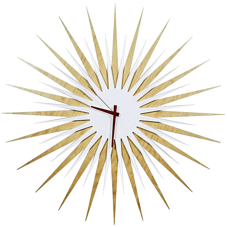 """Maple Wood and Red 23"""" Modern Starburst Wall Clock"""