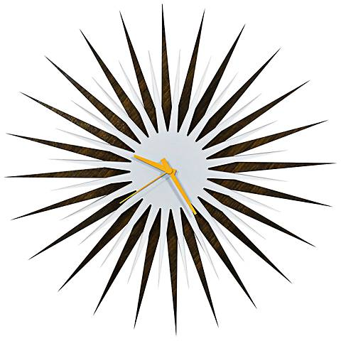 "Walnut White-Orange Atomic Starburst 23"" Round Wall Clock"