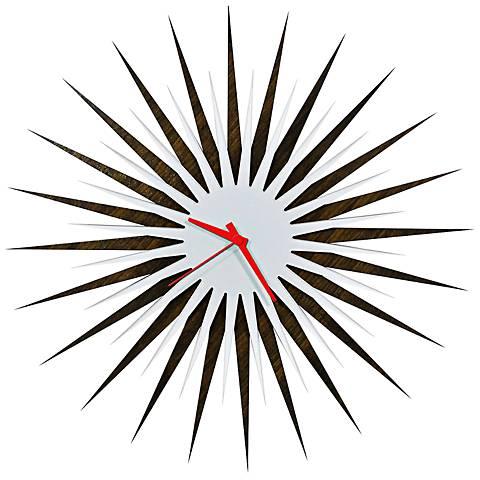 """Walnut White and Red Atomic Starburst 23"""" Round Wall Clock"""