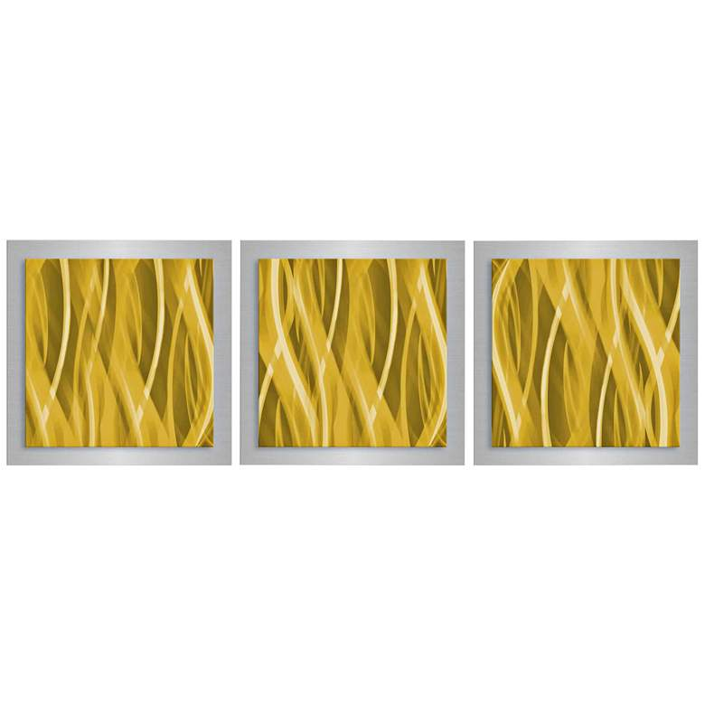 "Gold Essence 3-Piece 12"" Square Modern Metal Wall"
