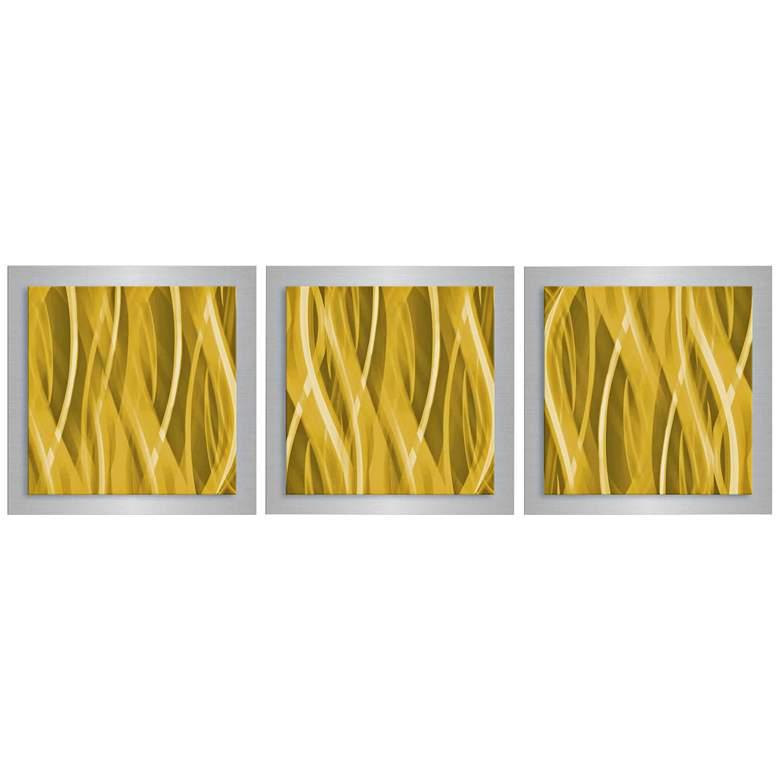 "Gold Essence 3-Piece 12"" Square Modern Metal Wall Art"