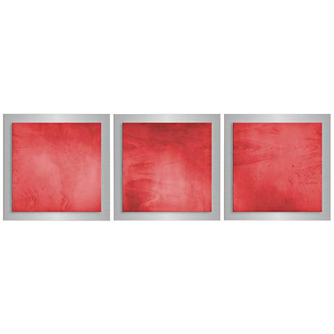 "Red Essence 3-Piece 12"" Square Modern Metal Wall Art"