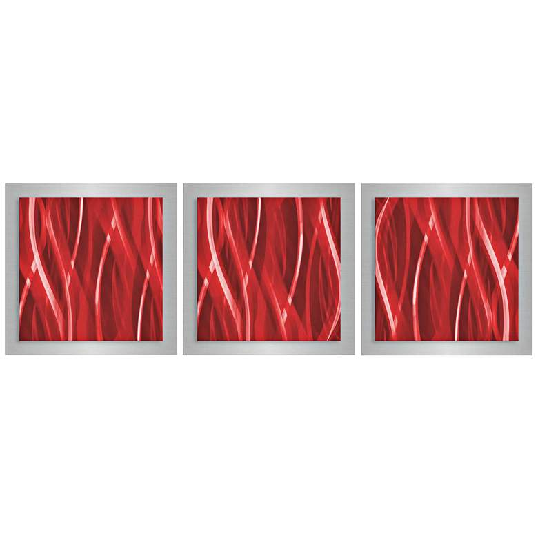 "Cherry Essence 3-Piece 12"" Square Modern Metal Wall Art"