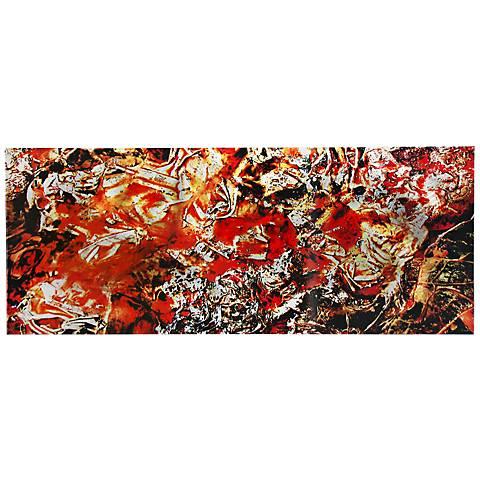 "Cinders Red and Orange Paint 48"" Wide Metal Wall Art"