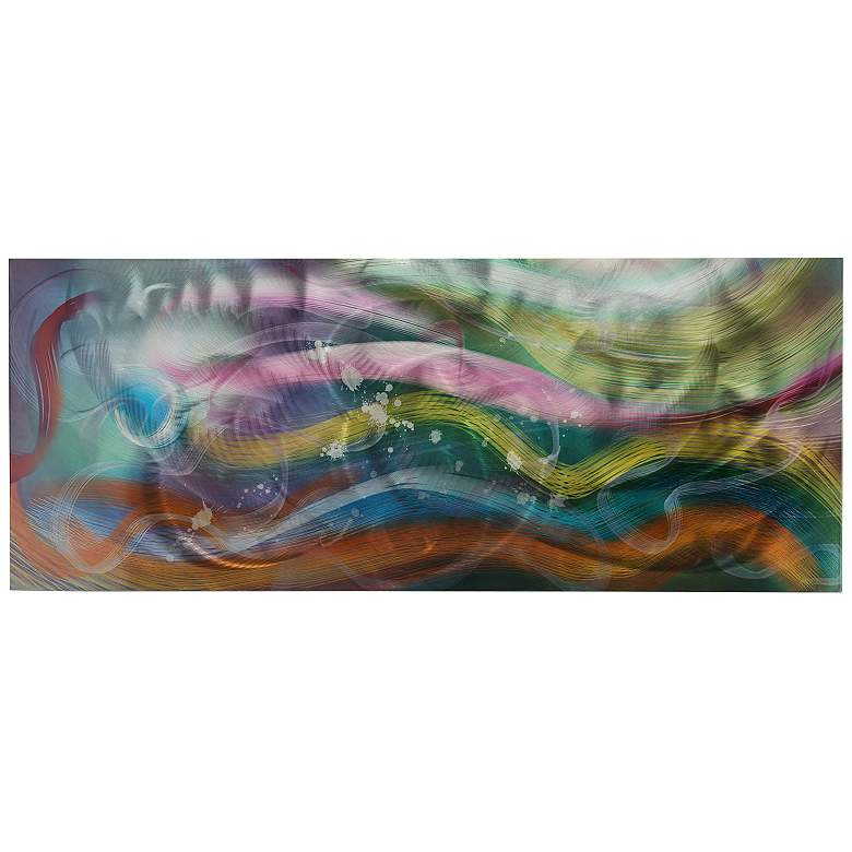 "Esne Composition 48"" Wide Colorful Abstract Water Wall Art"