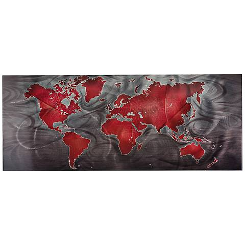 "Red Pewter Land and Sea 48"" Wide Modern Map Wall Art"