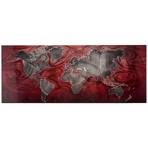 "Red Pewter Land and Sea V2 48"" Wide Modern Map Wall Art"