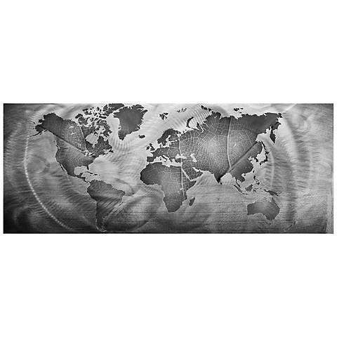 "Monochrome Land and Sea 48"" Wide World Map Metal Wall Art"
