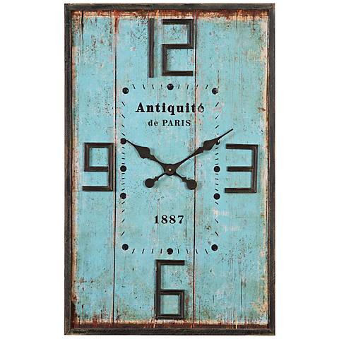 "Antiquite de Paris Aged Blue 36"" High Wood Wall Clock"