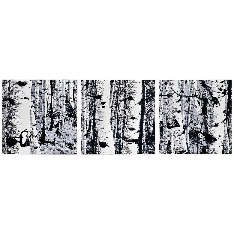 "Aspen Triptych 38"" Wide Black and White Trees Wall Art"