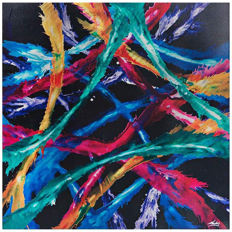 "Splash Colorful Room Wall: Color Splash 22"" Square Colorful Abstract Metal Wall Art"