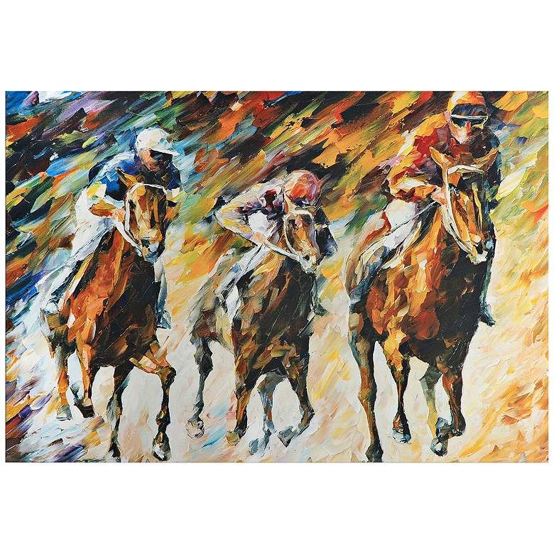 """Instant of Success Colorful Horse Race 32"""" Wide Wall Art"""