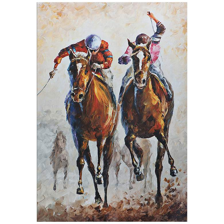 """Contenders 32"""" Wide Colorful Horse Race Metal Wall Art"""