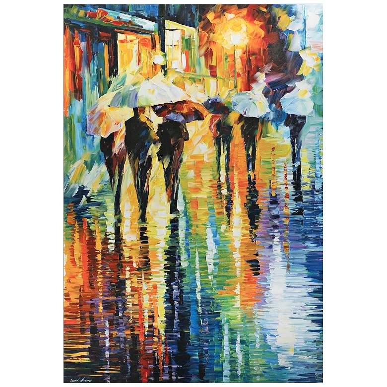 "Rainy Etude Umbrella Cityscape 32"" Wide Metal Wall Art"
