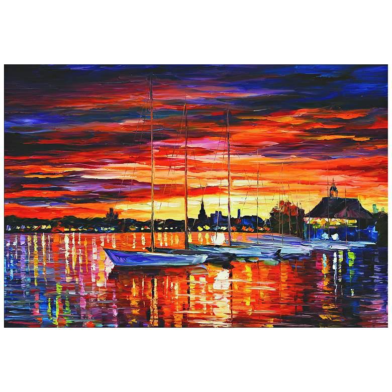 "Helsinki Sailboats at Yacht Club 32"" Wide Metal"