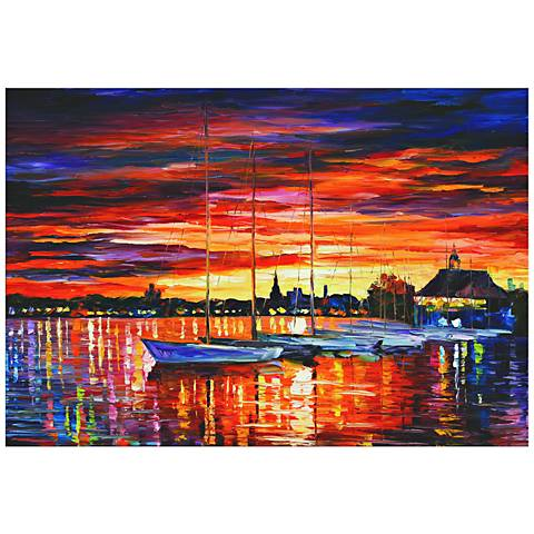 "Helsinki Sailboats at Yacht Club 32"" Wide Metal Wall Art"