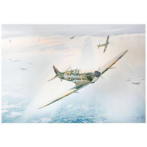 "Spitfire 32"" Wide Old War Plane WW2 Metal Wall Art"