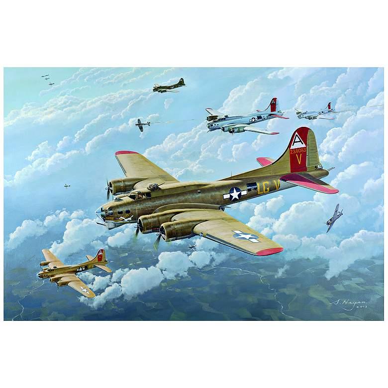 """B-17 WW-II Bomber Plane 32"""" Wide Metal Wall Art"""