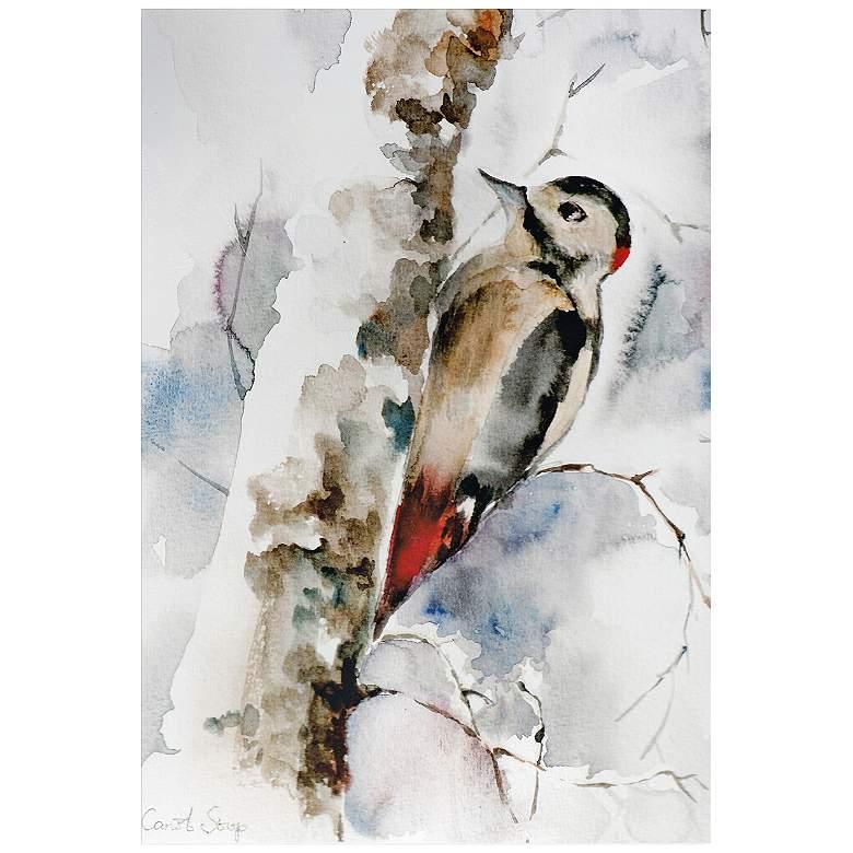 """Woodpecker 32"""" Wide Watercolor Metal Wall Art"""