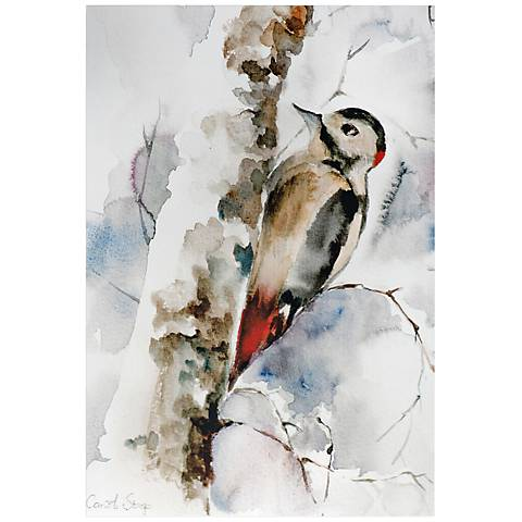 "Woodpecker 32"" Wide Watercolor Metal Wall Art"