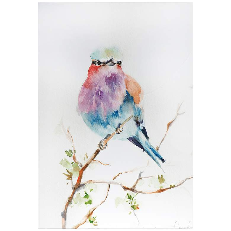 "Lilac Bird 32"" Wide Colorful Watercolor Metal Wall"