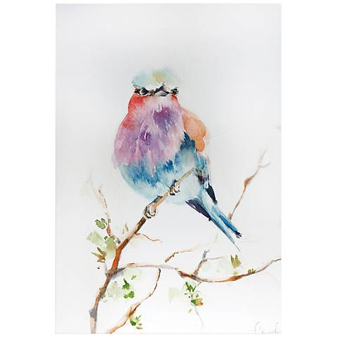 """Lilac Bird 32"""" Wide Colorful Watercolor Metal Wall Art"""