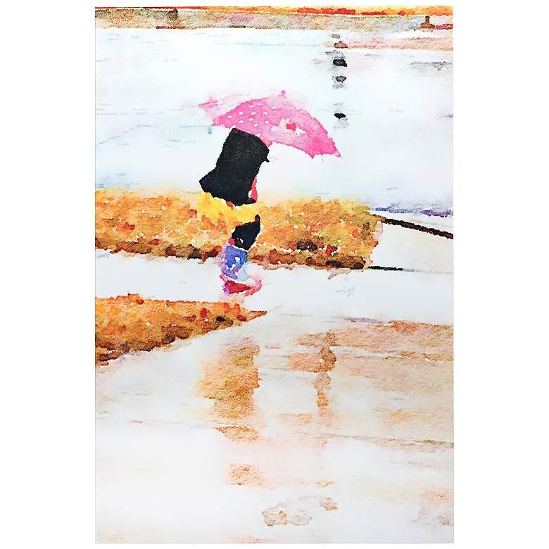 """Pink Umbrella 32"""" Wide Girl Playing in Rain Metal Wall Art"""