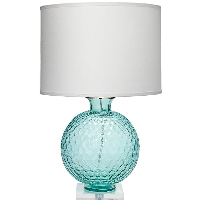 Jamie Young Clark Aqua Blue Glass Table Lamp