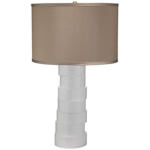 Jamie Young Taupe Silk White Stacked Animal Horn Table Lamp