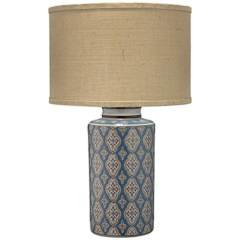 Jamie Young Verona Blue, Brown and White Ceramic Table Lamp