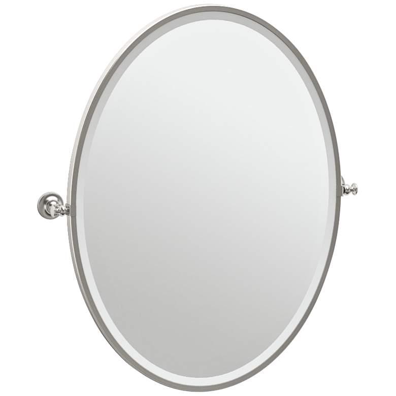 "Gatco Tavern Satin Nickel 28 1/2"" x 33"" Oval Wall Mirror"
