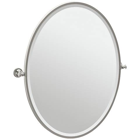 "Gatco Tavern Satin Nickel 28 1/2"" x 33"" Oval Wall Mirror"