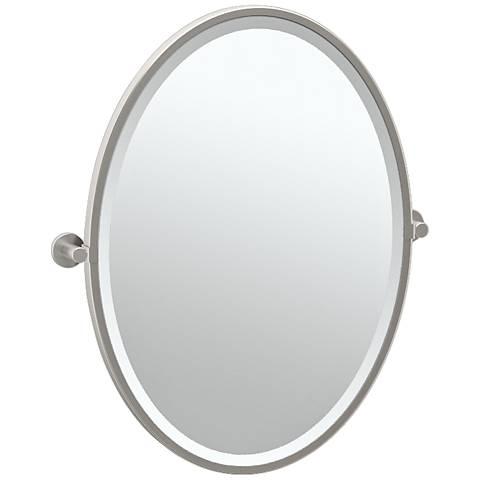 "Gatco Channel Satin Nickel 23 3/4"" x 27 1/2"" Wall Mirror"