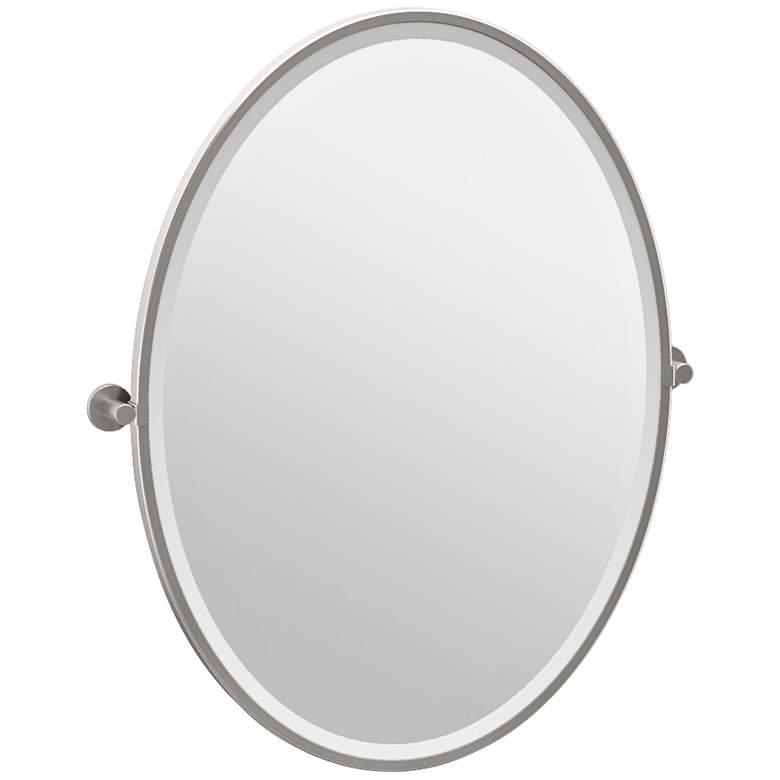 "Gatco Channel Satin Nickel 28 1/4"" x 33"" Oval Wall Mirror"