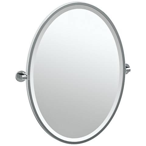 """Gatco Zone Chrome 24"""" x 27 1/2"""" Oval Wall Mirror"""